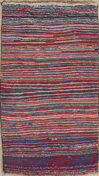 Stripe Multi-Color Gabbeh Persian Hand-Knotted 2x4 Wool Rug