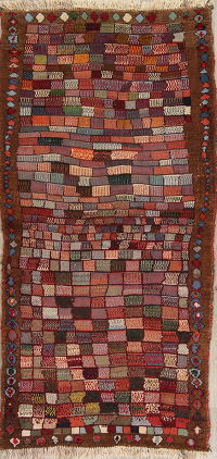 Multi-Color Gabbeh Persian Hand-Knotted 3x6 Wool Runner Rug