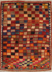 Checked Multi-Color Gabbeh Persian Hand-Knotted 3x4 Wool Rug
