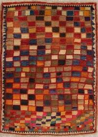 Checked Gabbeh Persian Hand-Knotted 3x4 Wool Rug