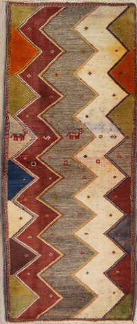 Multi-Color Gabbeh Persian Hand-Knotted 2x5 Wool Runner Rug