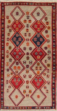 Geometric Gabbeh Persian Hand-Knotted 3x7 Wool Runner Rug
