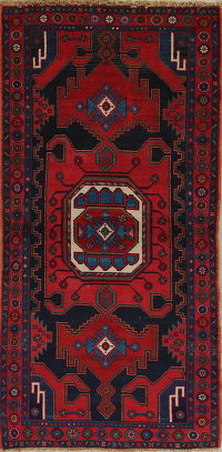 Geometric Hamedan Persian Hand-Knotted 3x7 Wool Runner Rug