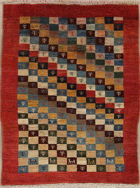 Checked Gabbeh Persian 3x4 Rug wool