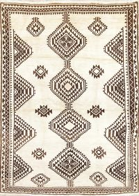 Geometric Gabbeh Persian Hand-Knotted 6x8 Wool Area Rug