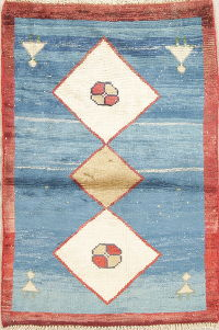 Geometric Blue Gabbeh Persian Hand-Knotted 3x4 Wool Rug