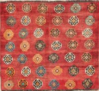 Geometric Gabbeh Persian Hand-Knotted 3x3 Wool Square Rug