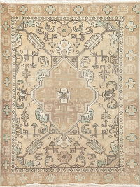Muted Geometric Near Square Tabriz Persian Rug 4x6