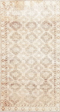 Antique Hamedan Muted Distressed Runner Rug 3x7