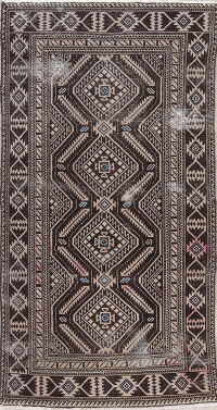 Antique Geometric Shiraz Persian Area Rug 4x7