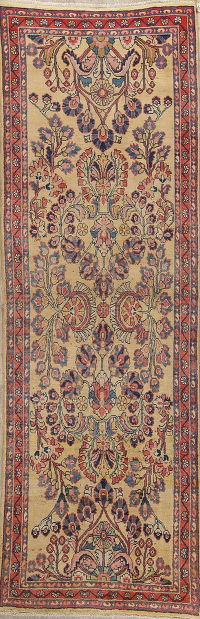 Gold Sultanabad Persian Runner Rug 3x10
