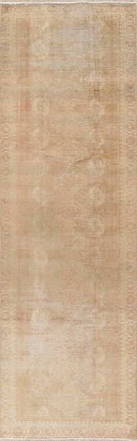 Antique Muted Distressed Hamedan Runner Rug 3x10