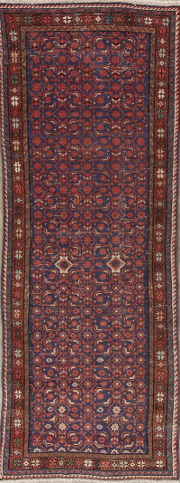 Navy Blue Hamedan Persian Runner Rug 4x10