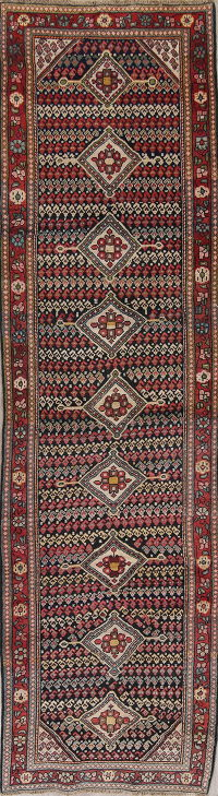 Antique Black Sultanabad Persian Runner Rug 3x12