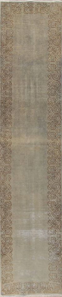 Washed Color Tabriz Muted Distressed Runner Rug 2x11