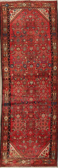 Red Hamedan Persian Runner Rug 3x10
