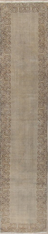 Tabriz Muted Distressed Runner Rug 2x11