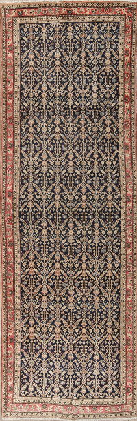 Navy Blue Antique Sultanabad Persian Runner Rug 4x13