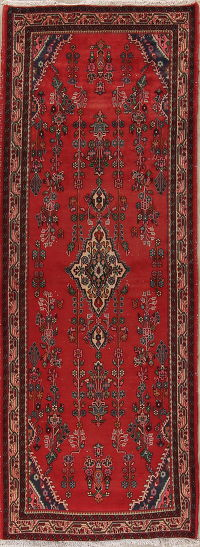 Red Lilian Persian Runner Rug 4x9