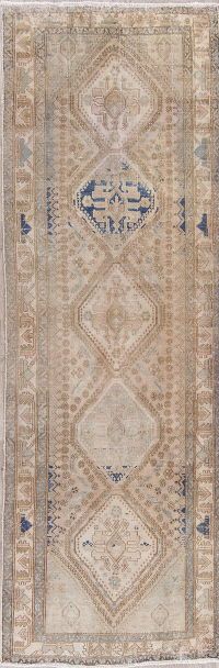 Muted Distressed Ardebil Persian Runner Rug 3x10