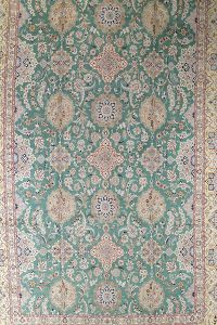 Palace Sized Wool/Silk Nain Persian Green Rug 16x26
