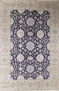 Palace Sized Wool/Silk Nain Persian Blue Rug 13x20