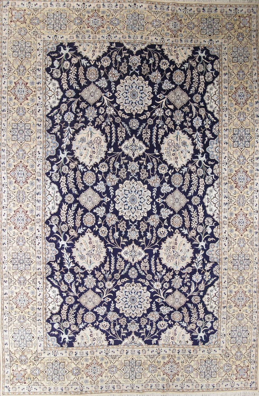 Palace Sized Wool/Silk Nain Persian Blue Rug 13x20 image 1