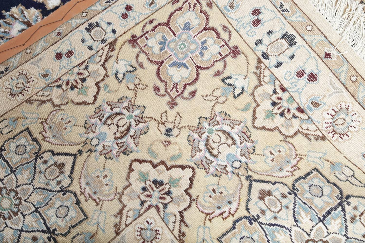 Palace Sized Wool/Silk Nain Persian Blue Rug 13x20 image 25