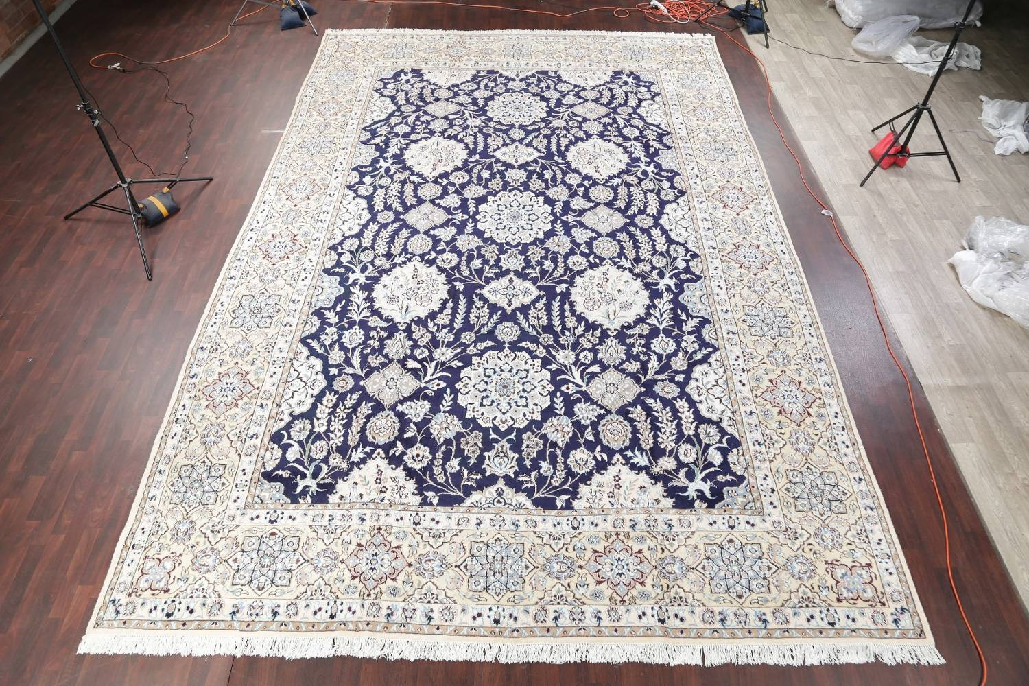Palace Sized Wool/Silk Nain Persian Blue Rug 13x20 image 2