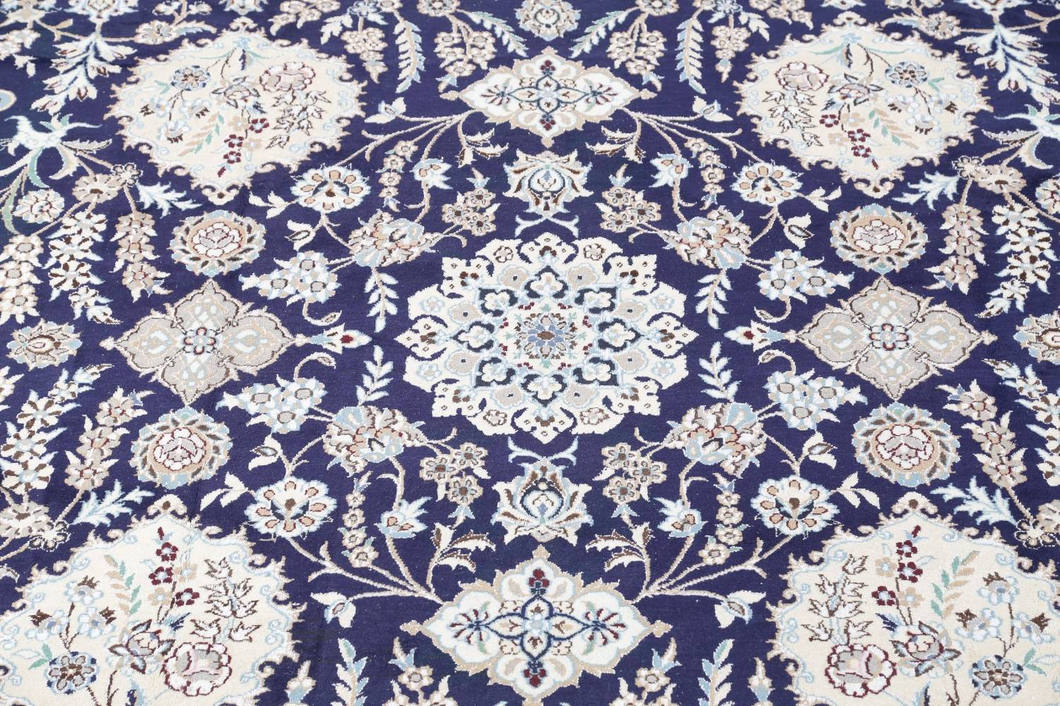 Palace Sized Wool/Silk Nain Persian Blue Rug 13x20 image 4