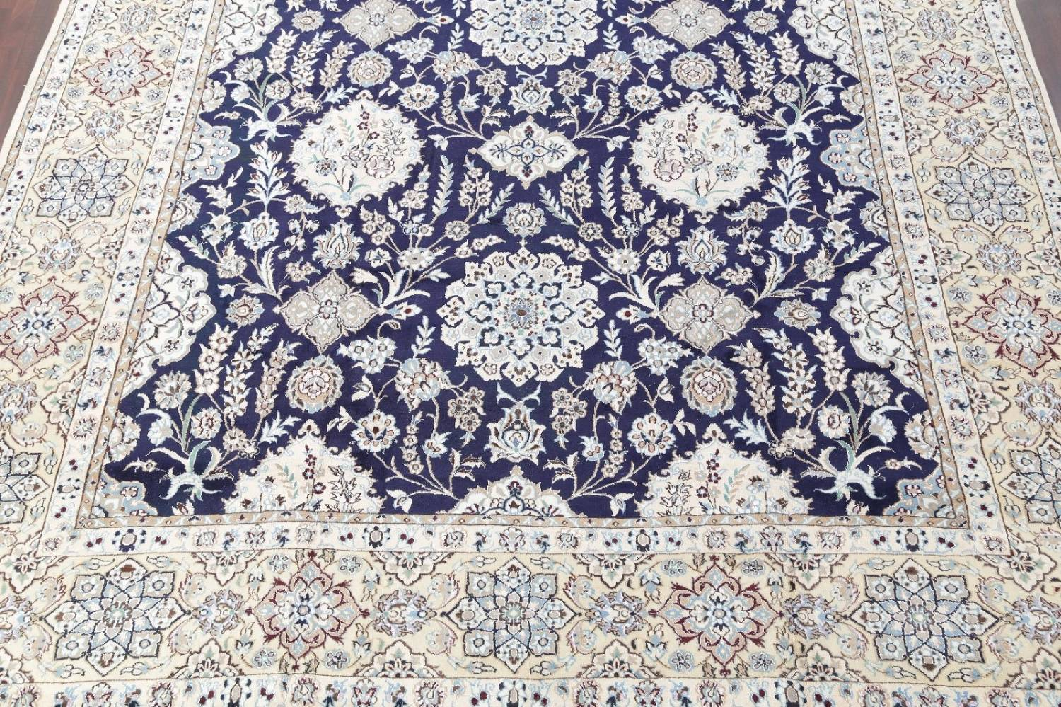 Palace Sized Wool/Silk Nain Persian Blue Rug 13x20 image 5