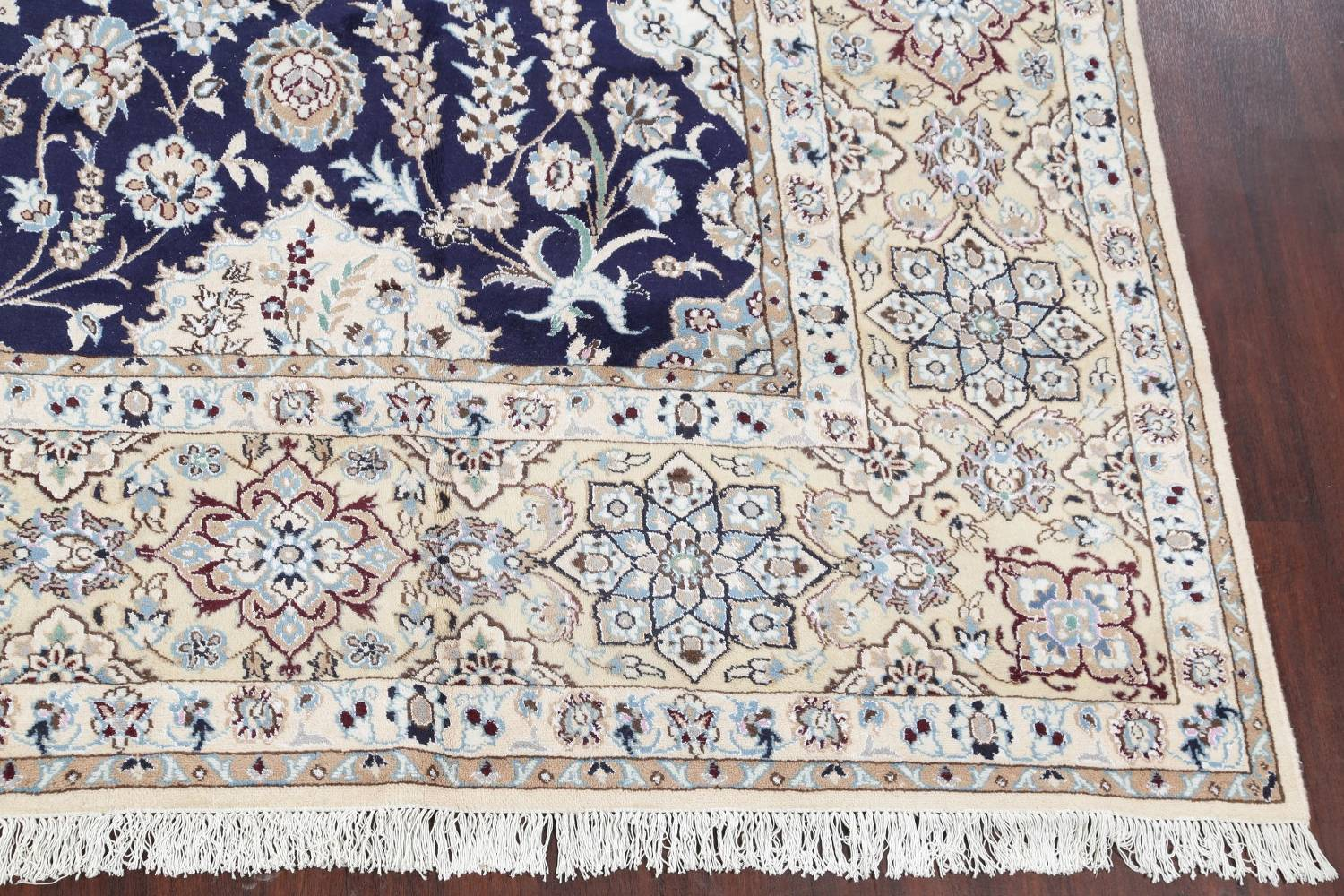 Palace Sized Wool/Silk Nain Persian Blue Rug 13x20 image 6