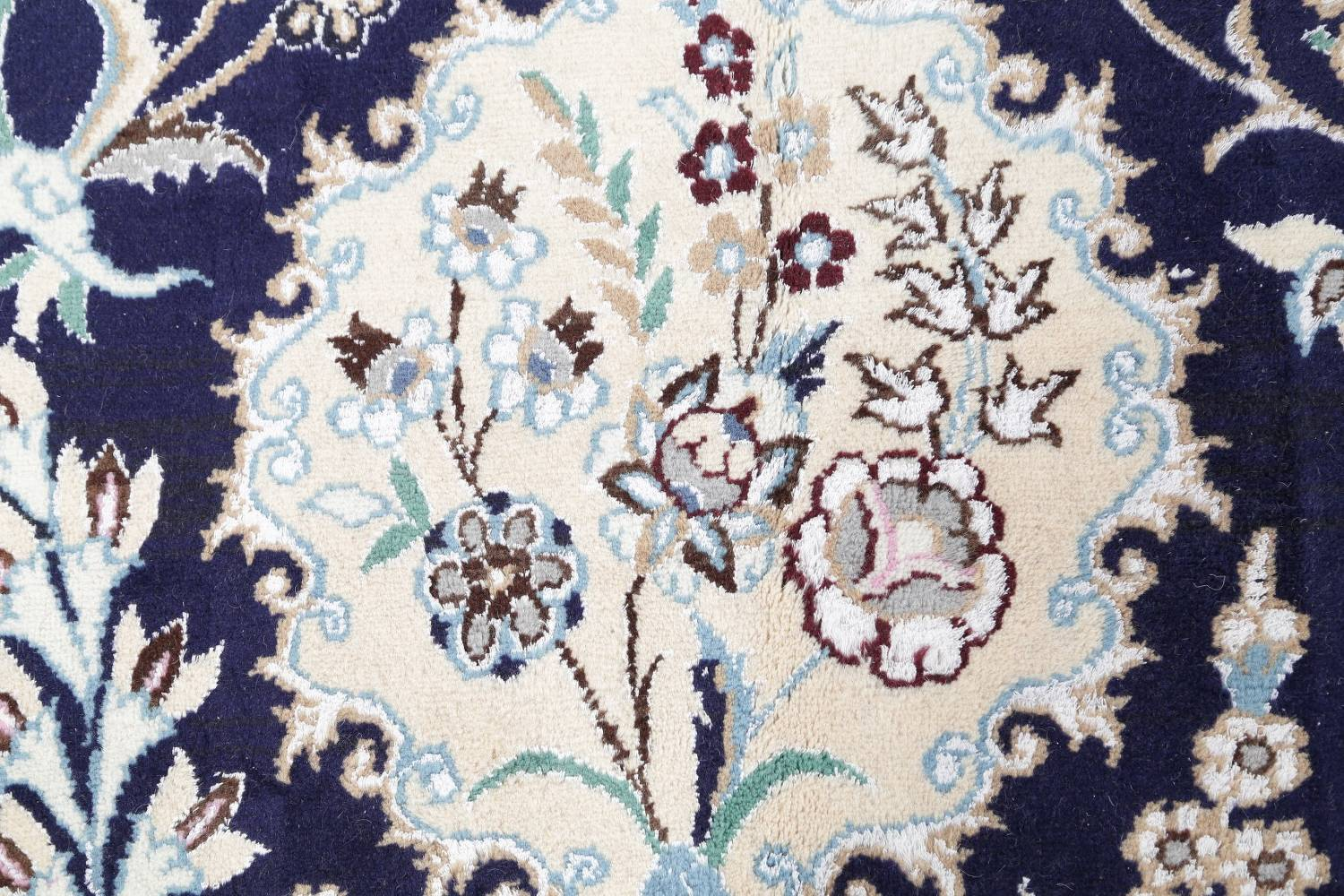 Palace Sized Wool/Silk Nain Persian Blue Rug 13x20 image 8