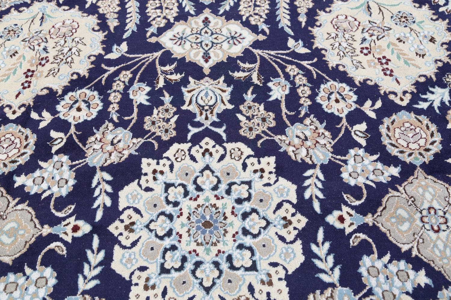 Palace Sized Wool/Silk Nain Persian Blue Rug 13x20 image 14