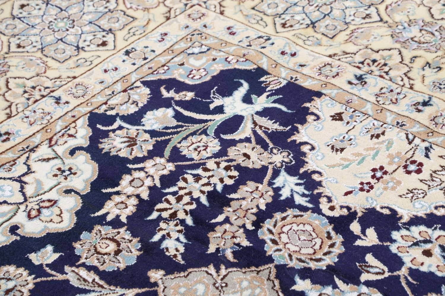 Palace Sized Wool/Silk Nain Persian Blue Rug 13x20 image 15