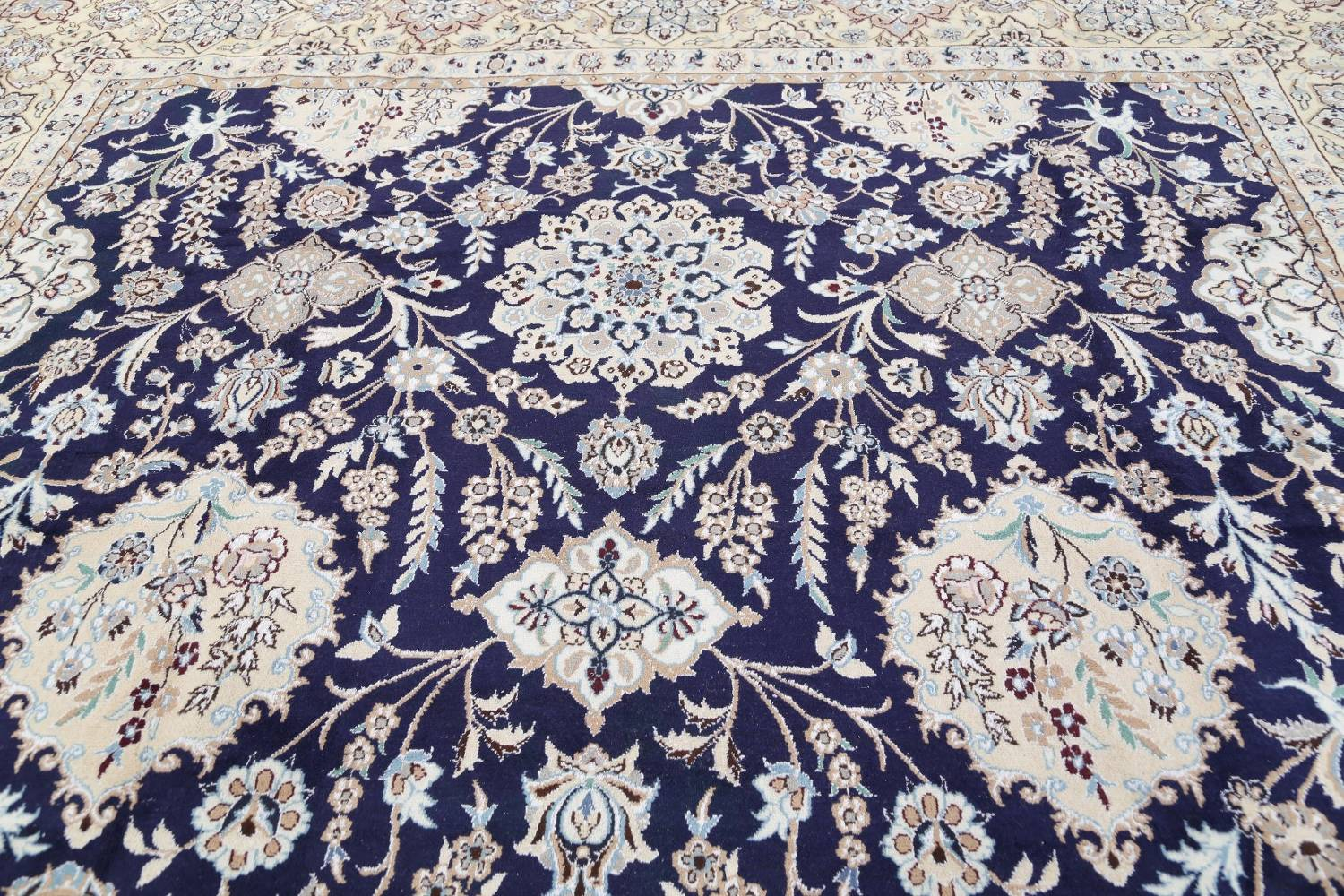 Palace Sized Wool/Silk Nain Persian Blue Rug 13x20 image 16