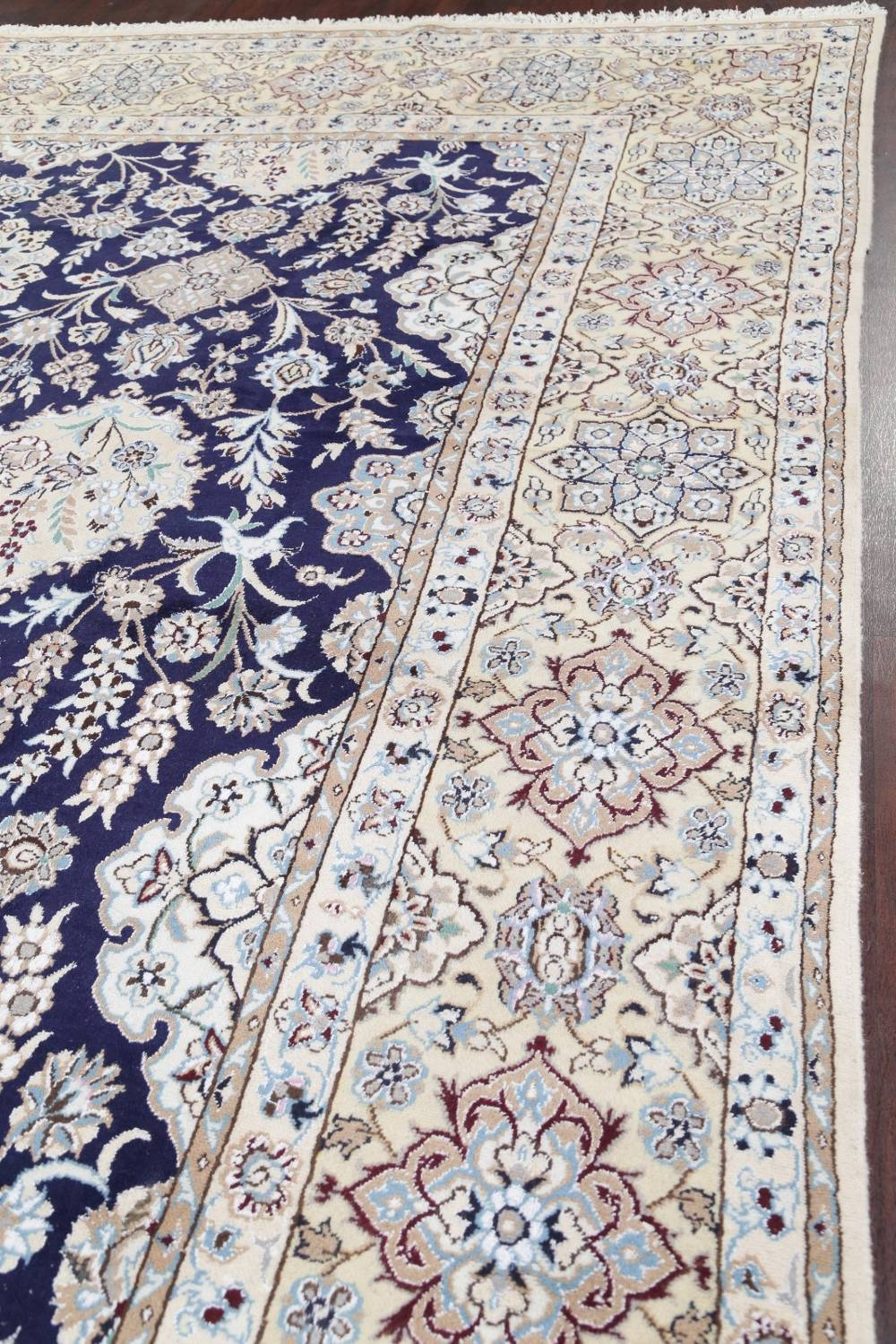 Palace Sized Wool/Silk Nain Persian Blue Rug 13x20 image 17