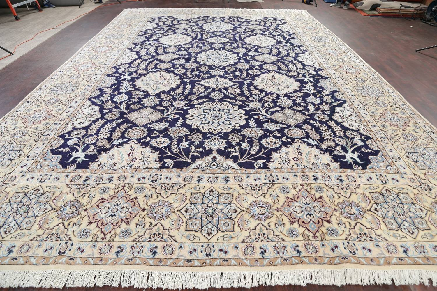 Palace Sized Wool/Silk Nain Persian Blue Rug 13x20 image 19