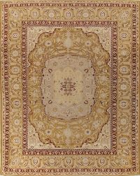 Pre-1900 Vegetable Dye Gold Agra Indian Rug 10x13