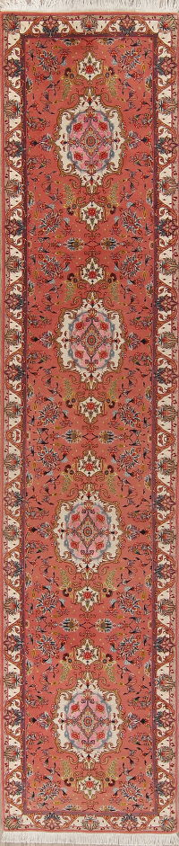 Red Floral Tabriz Wool Persian Rug 3x13