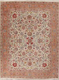 Floral Ivory Tabriz Persian Rug 10x13