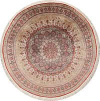100% Silk 8x8 Qum Persian Round Area Rug