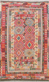 Color-full Geometric Turkish Kilim Rug Wool 5x9