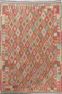 Flat-Weave Kilim Turkish Rug Wool 7x10