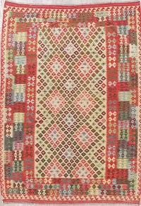 Color-full Geometric Turkish Kilim Rug Wool 7x10