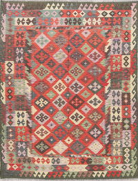 Color-full Geometric Turkish Kilim Rug Wool 6x8