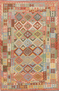 Modern Flat-Weave Turkish Kilim Area Rug 6x10