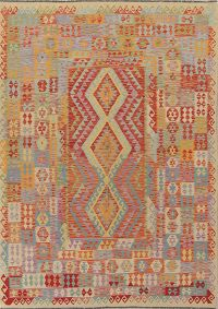 Color-full Geometric Turkish Kilim Area Rug Wool 7x10