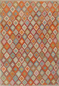Flat-Weave Kilim Turkish Area Rug Wool 7x10
