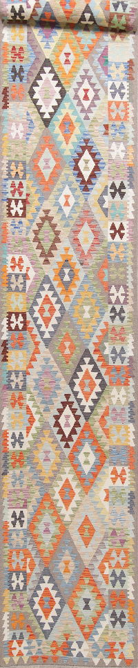 Modern Flat-Weave Turkish Kilim Runner Rug 3x19